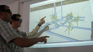 Using Virtalis visualisation being used to analyse borehole sample data