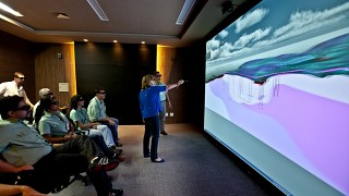 VALE's ActiveWall in use displaying GeoVisionary in 3D