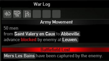 """War Log"" notification screen"
