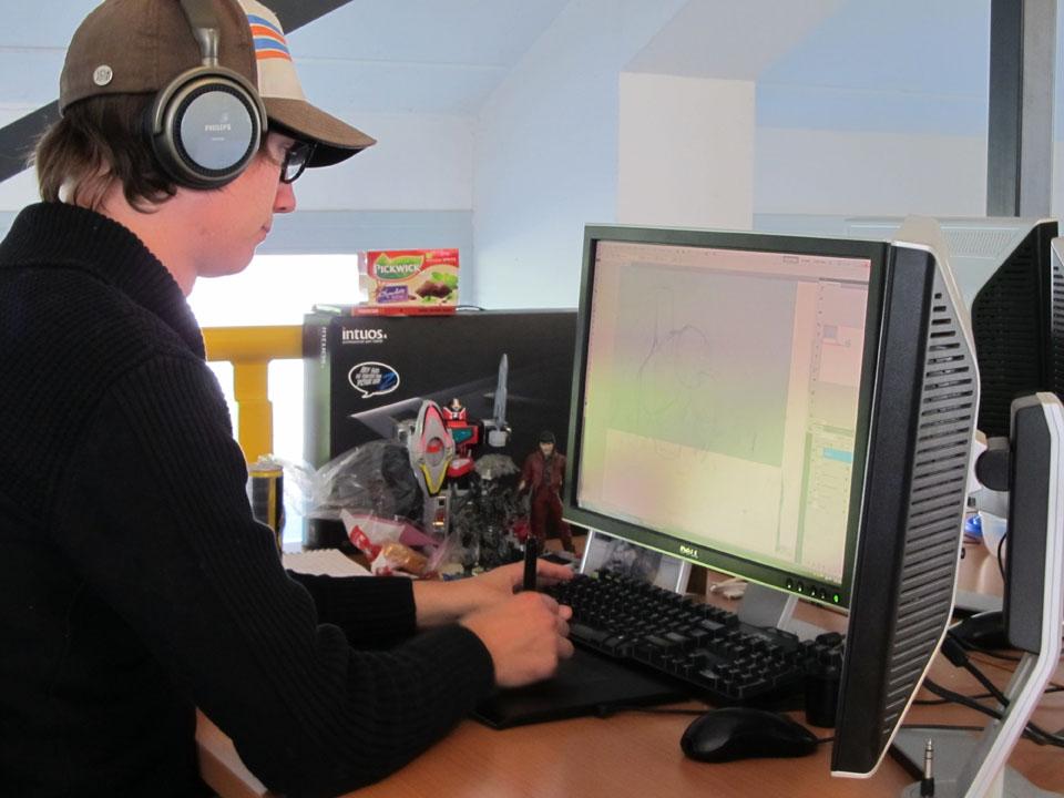 Pascal working on a cutscene