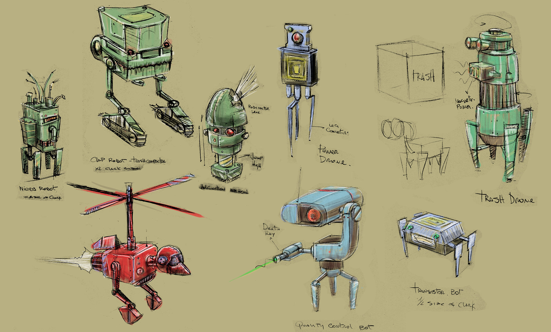 Concepts for some of the trash bots
