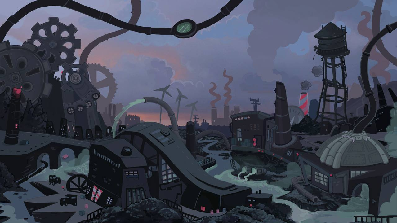 A still shot of one of Organic Panic's dynamic level backgrounds