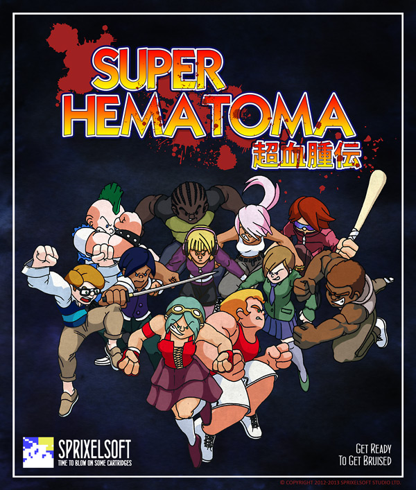 A collection of bruisers from Sprixelsoft's upcoming indie video  game Super Hematoma where players will be able to battle each other in multiplayer combat