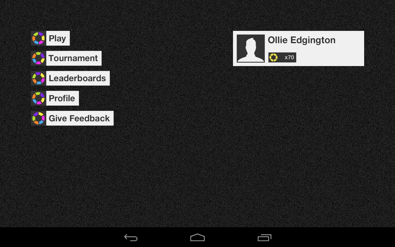 A peek at the main menu on a Nexus 7