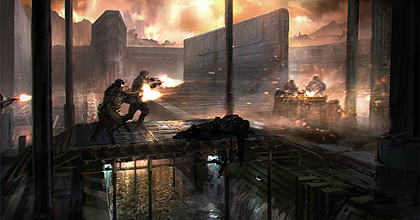 Soldiers rush across the bridge in the Deadpool Arena - Concept Art