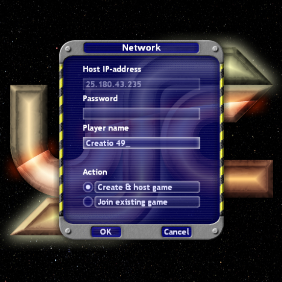 Network game dialog