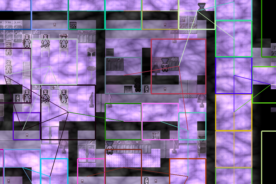 More brightly colored debug information, showing the links between nodes. These are the lines the aliens travel along to look for the player.