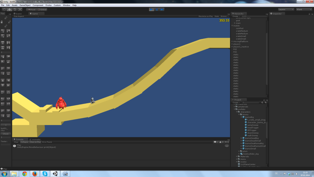 Custom built slope in for testing foot IK match targeting in Unity3D