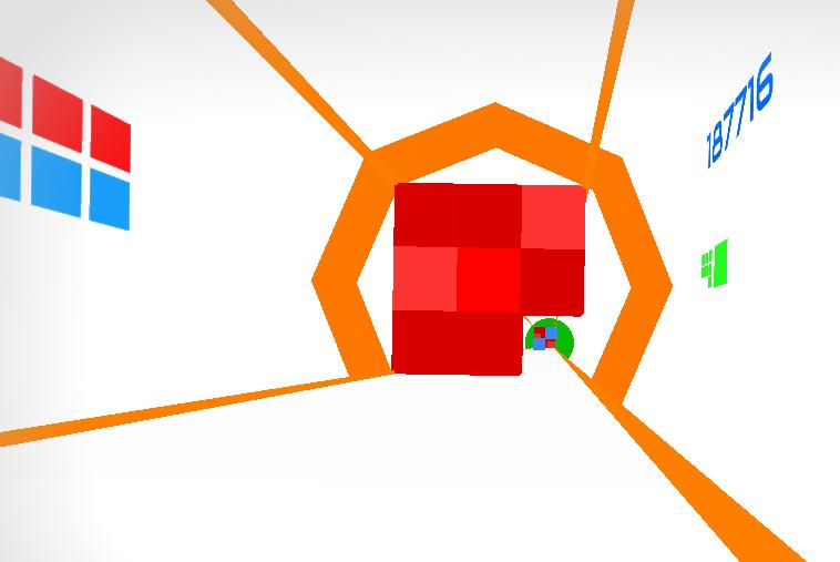 Hyper Gauntlet flying through red blocks, bottom right corner