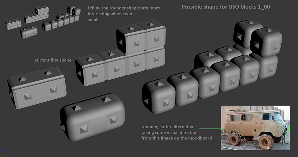 Early model tests exploring base block shapes for the GSO corporation