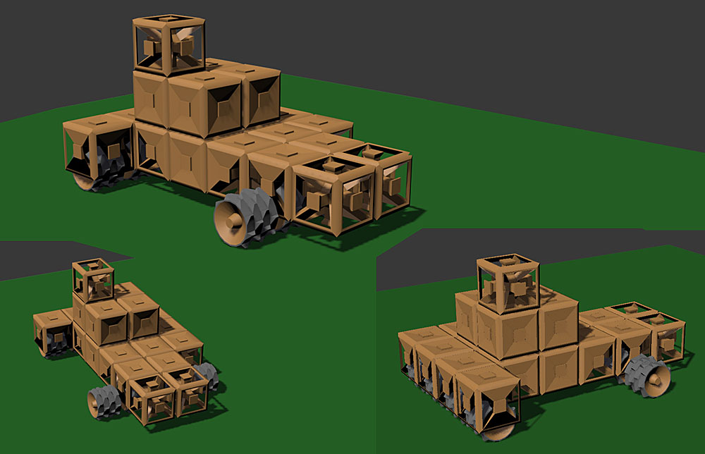 Early model tests exploring options for the GeoCorp blocks and wheels