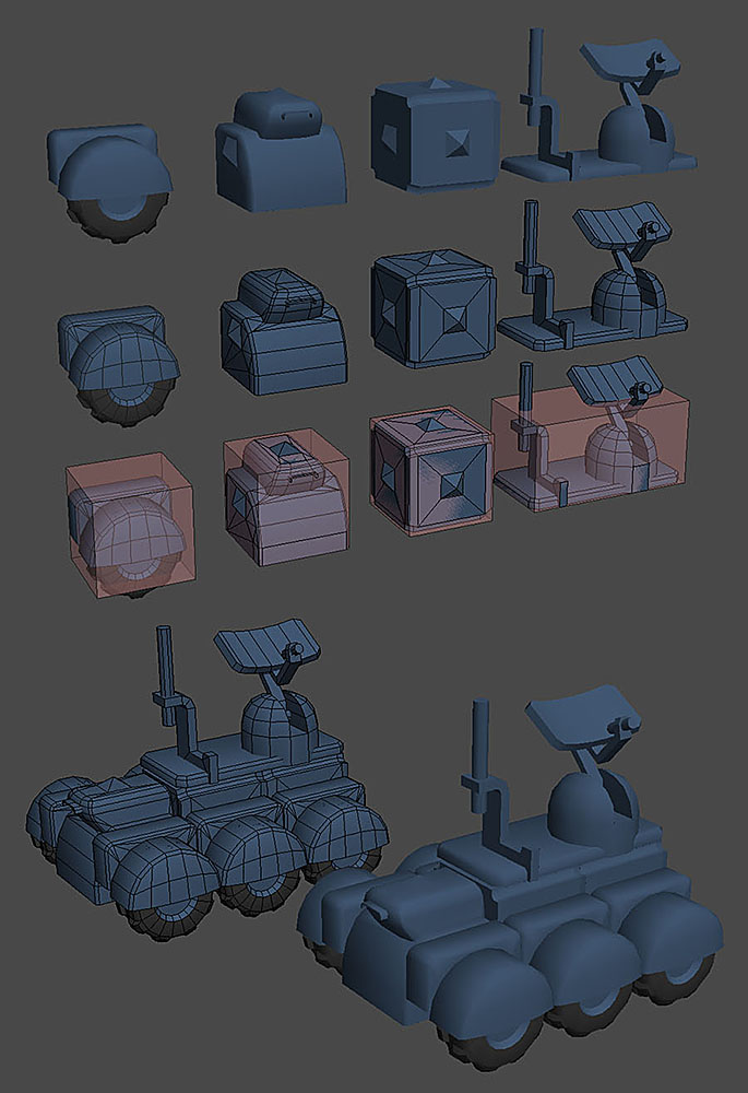 The first untextured set of GSO component models ready for testing in game