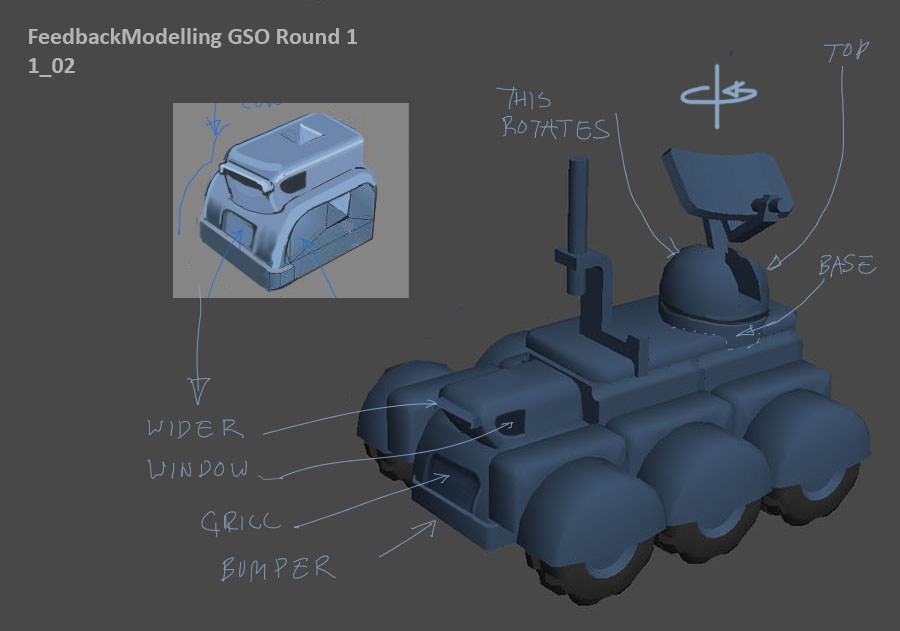 The first round of feedback on the models based on a visual review