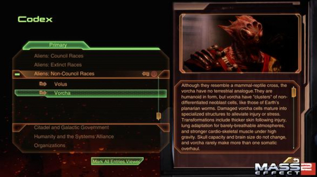In-game text from Mass Effect 2. Image courtesy of videogamesblogger.com