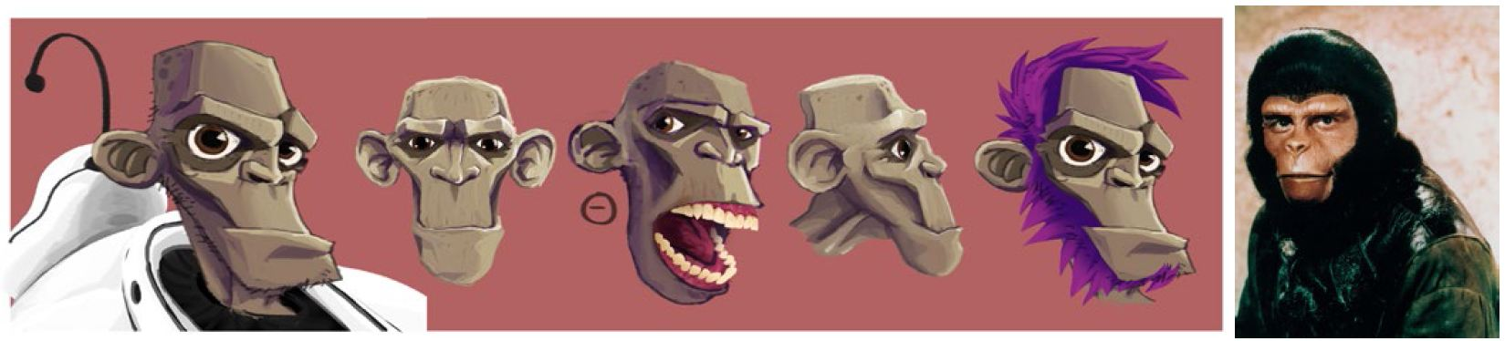 "Gordos face from different angles (2011/2012) and""Planet of the apes"" (1968)"