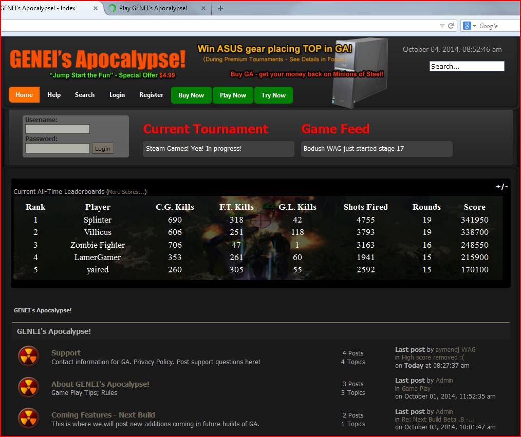 Competative Arcade Shooter - GENEI's Apocalypse!