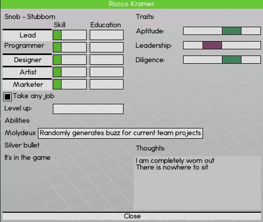 This is how the employee detail screen currently looks. The personality traits are written in the top left corner.