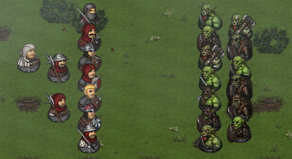 Line Battle against Orcs
