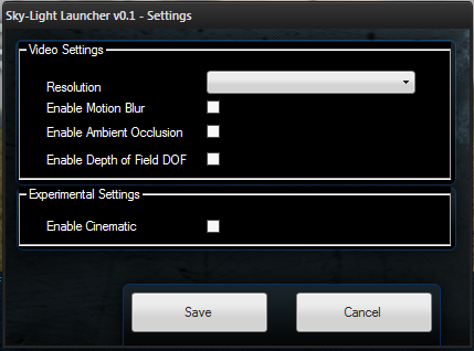 Settings Page of the Game Launcher v0.1