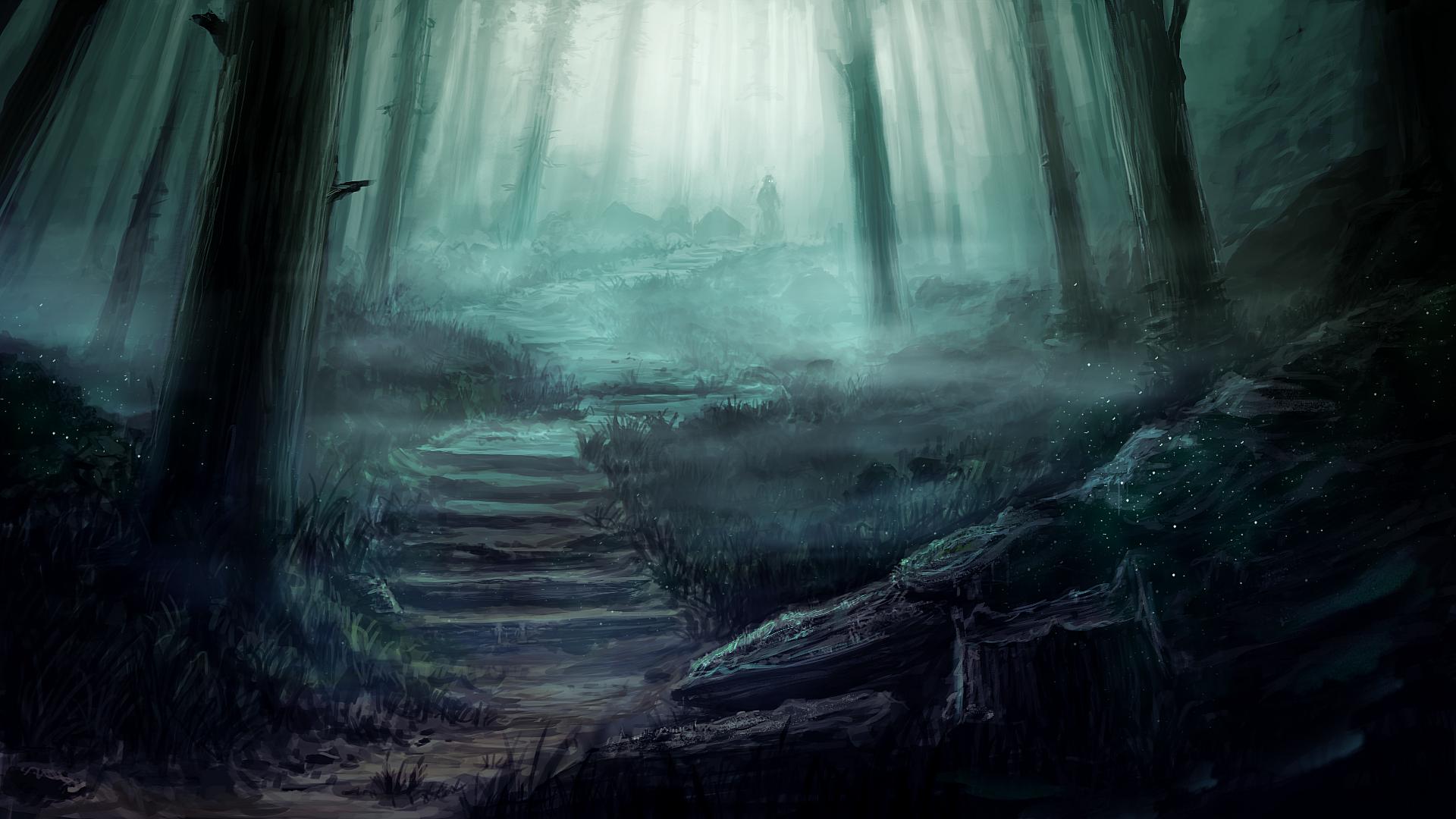 art dark car forest - photo #15
