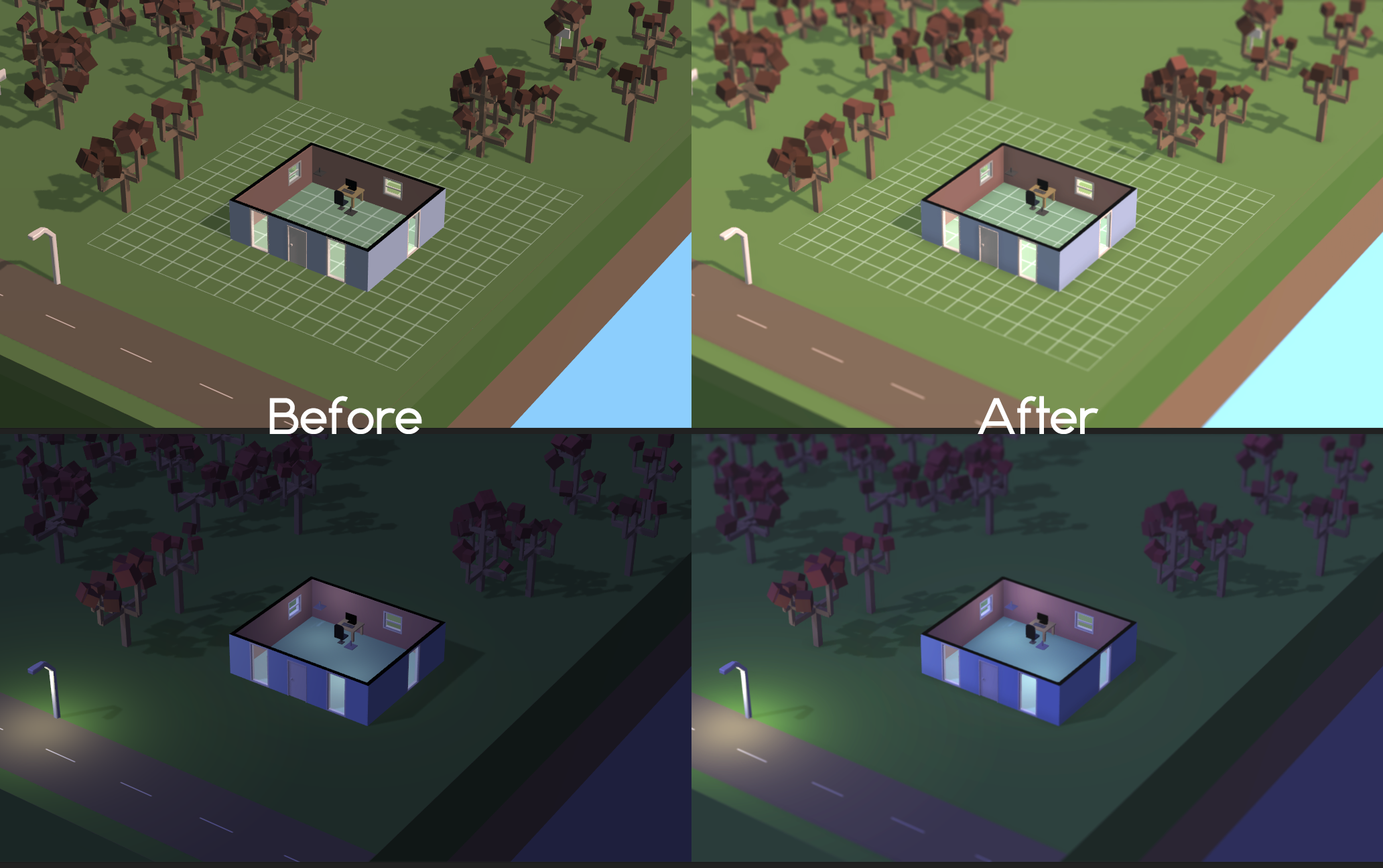 This is a before and after picture, after adding the post render effects from Unity Pro. I've added ambient occlusion, better anti-aliasing, tilt shift blur and color correction using a look-up texture. The effects of the color correction are probably most noticeable in this picture.