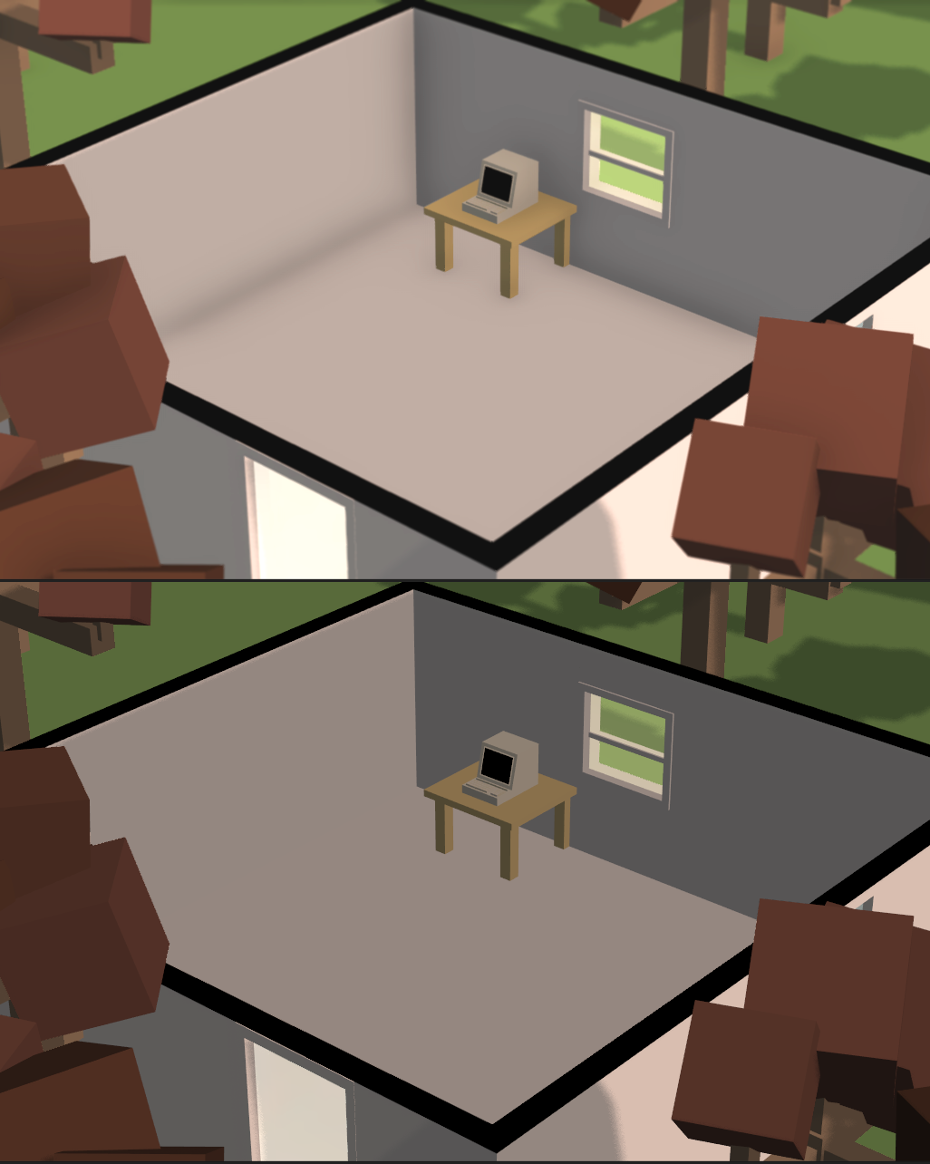 This picture shows how important ambient occlusion is. In the bottom picture it's hard to tell where the wall stops and the floor begins.