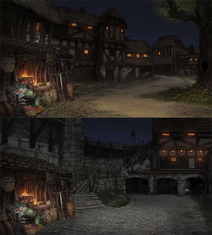 village castle night battle brothers