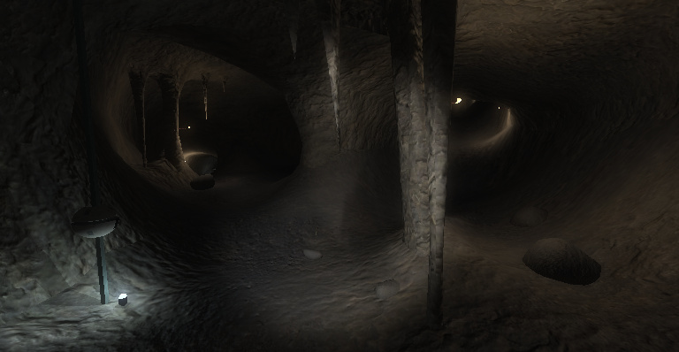 The first cave which consists of a terrain for the ground and a mesh for the ceiling.