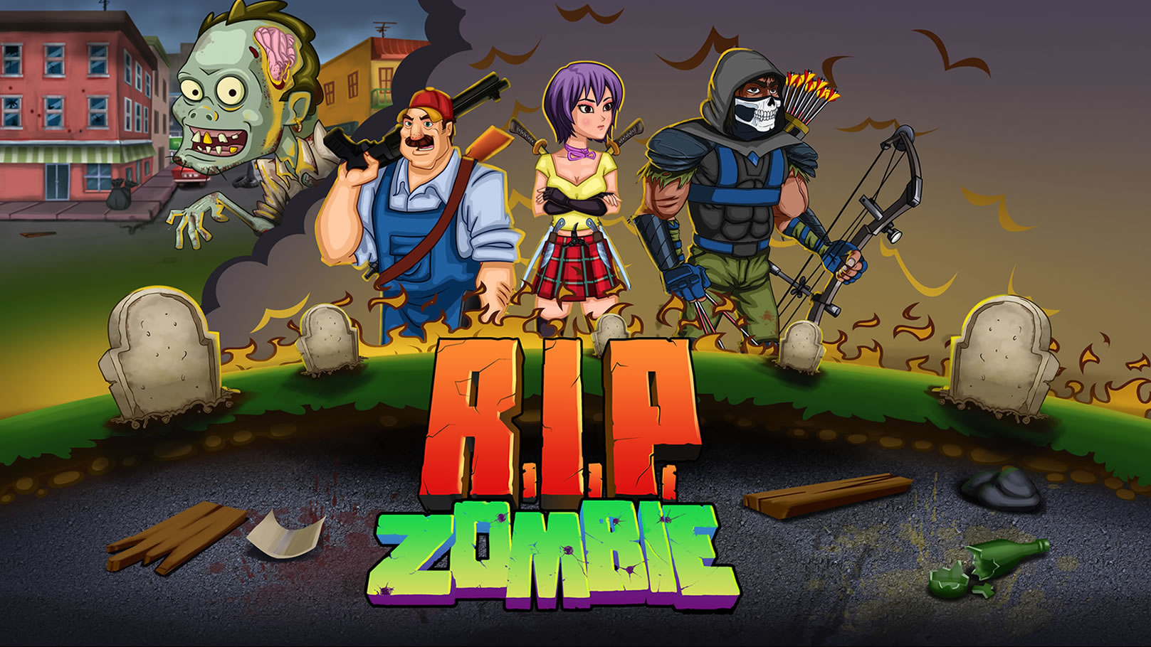 R I P  Zombie is a zombie survival puzzle game with RPG elements