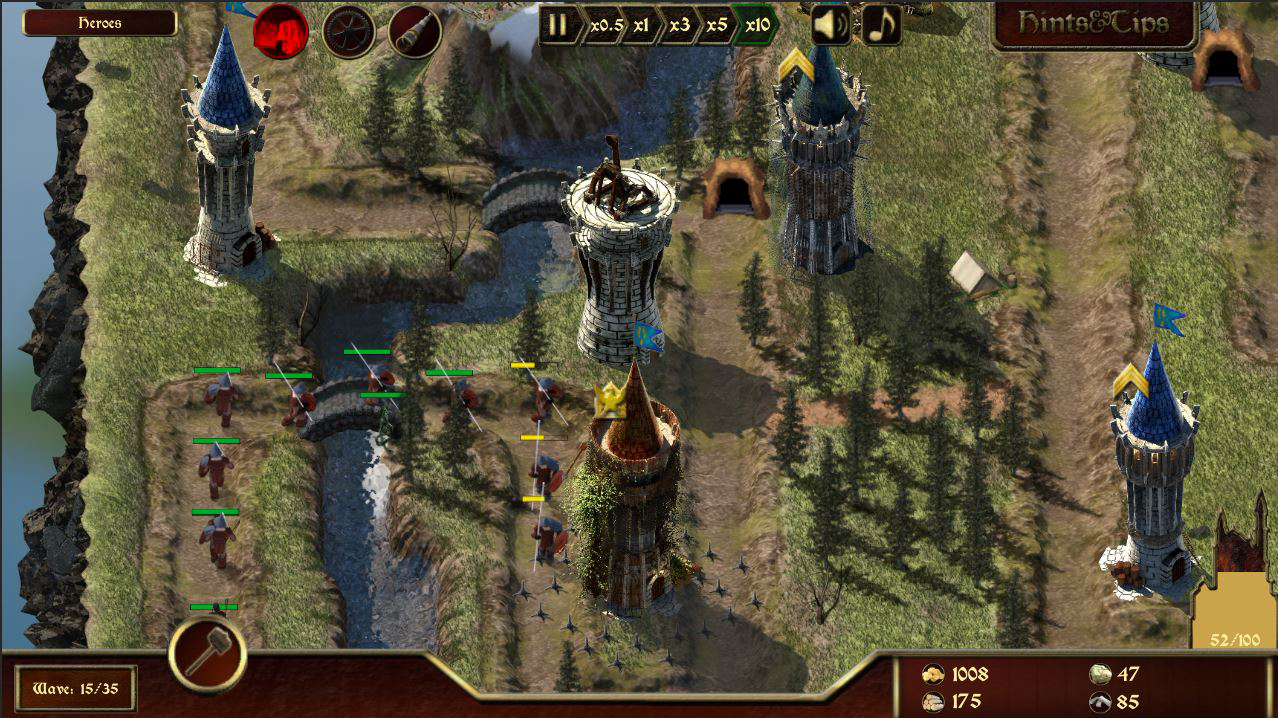 Archery and catapult tower in action in the Combat Map