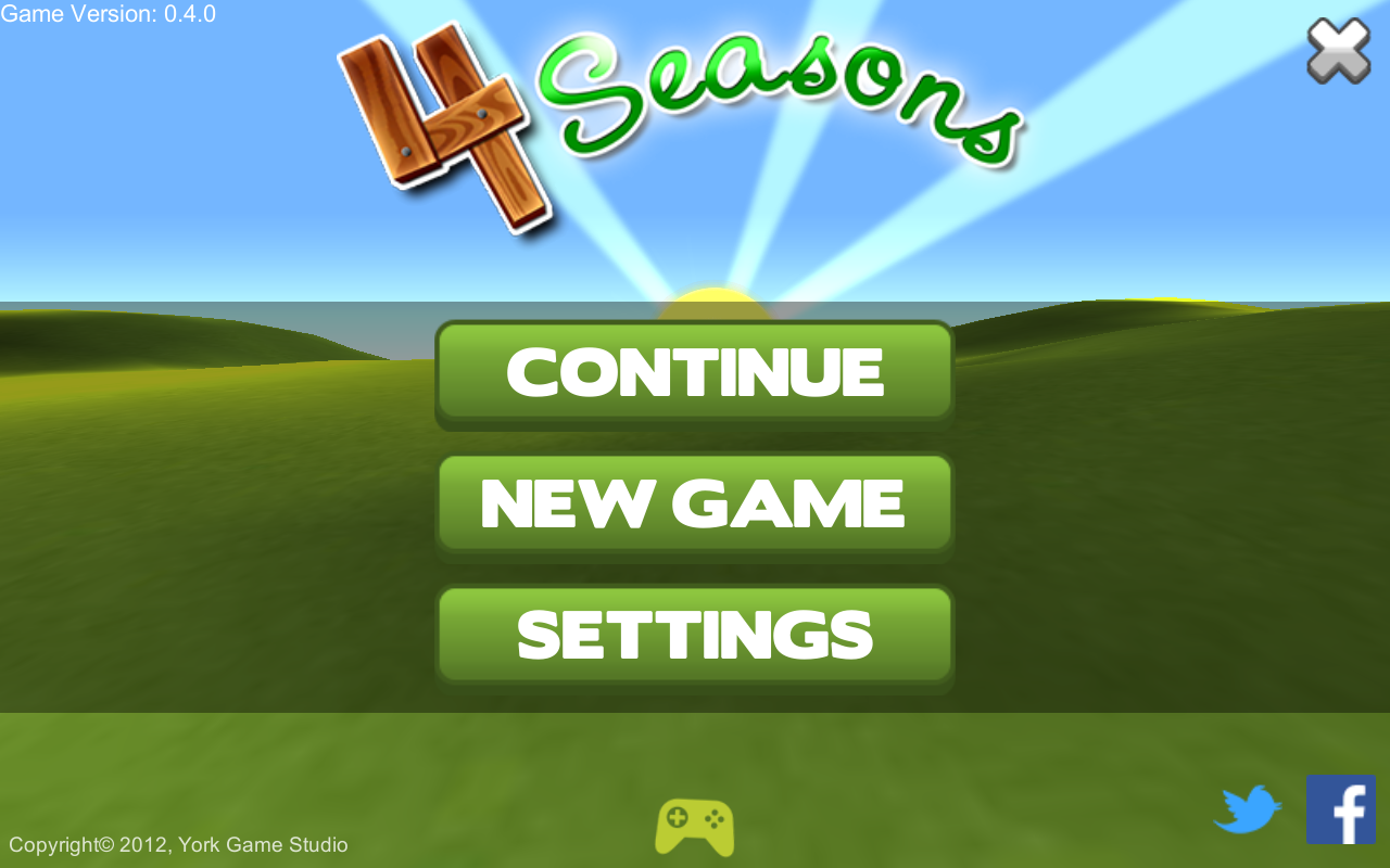The game main menu