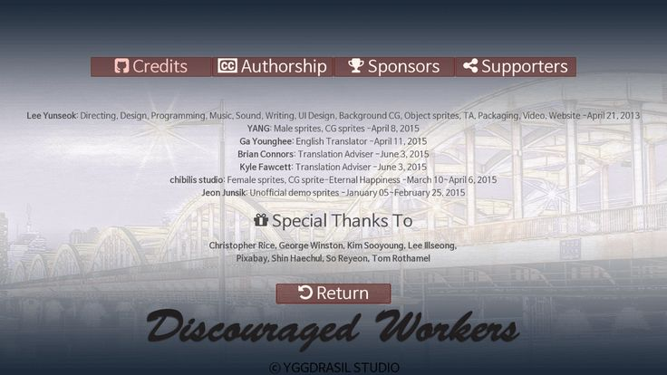 Discouraged Workers Credits screen