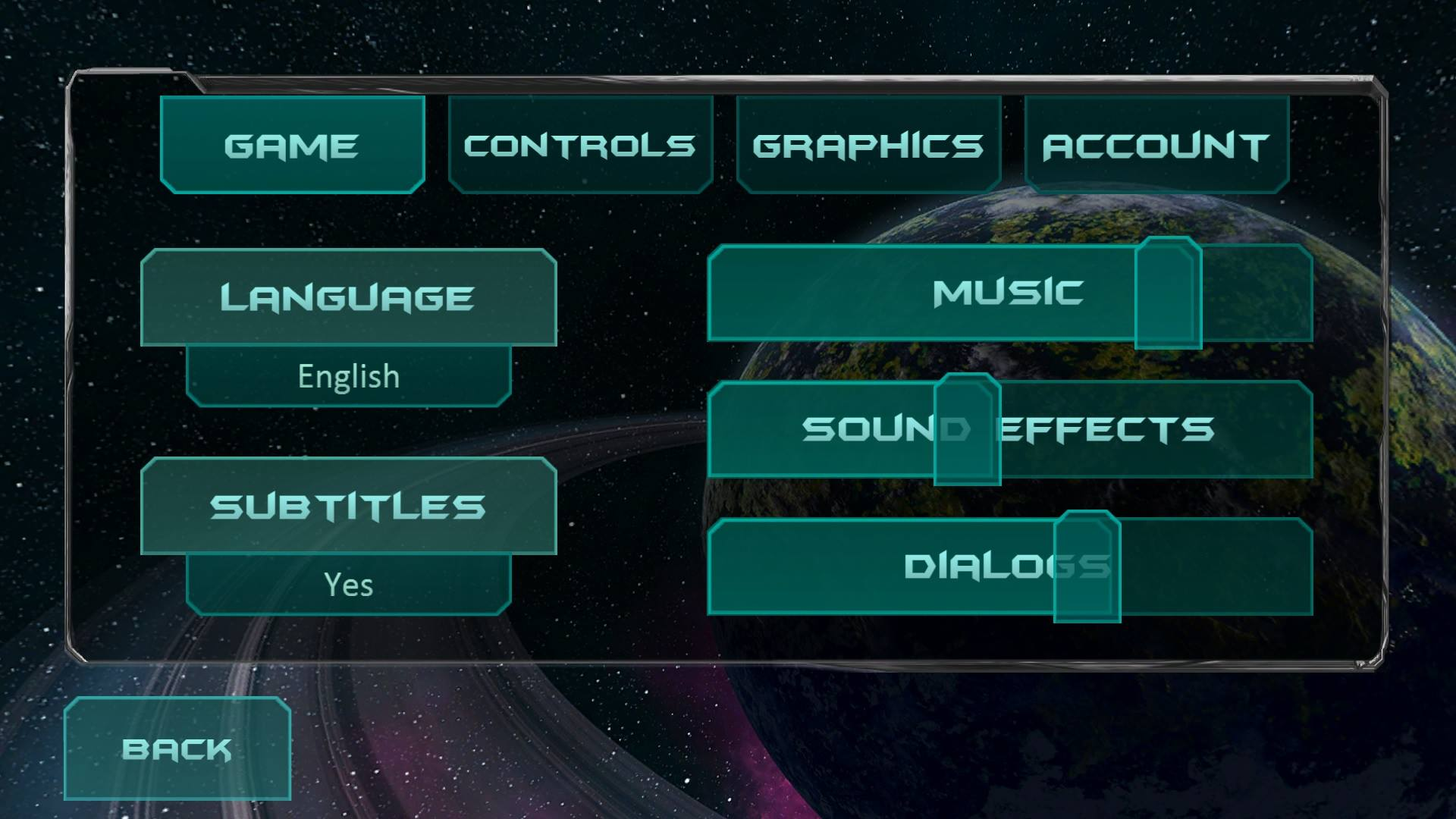 Fractal Space Options Menu