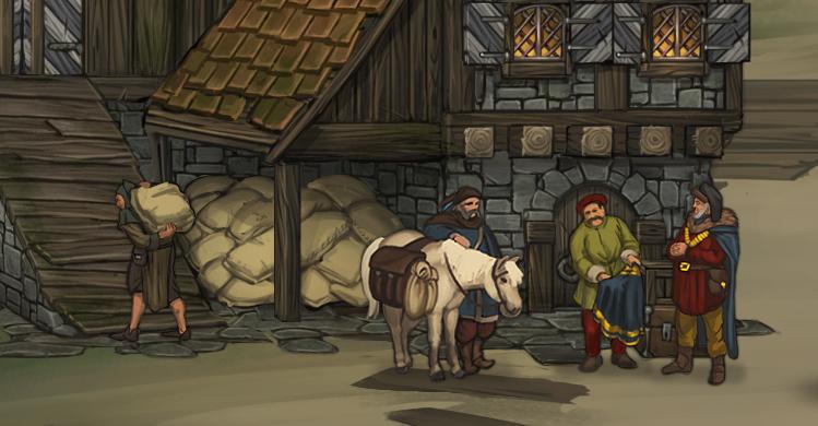 traders medieval game art