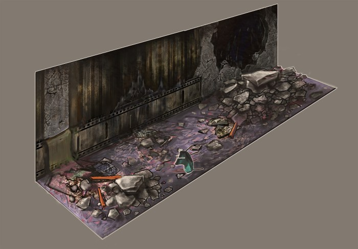 Concept art for the apartment level. This displays the extent of damage following the destruction of the level.