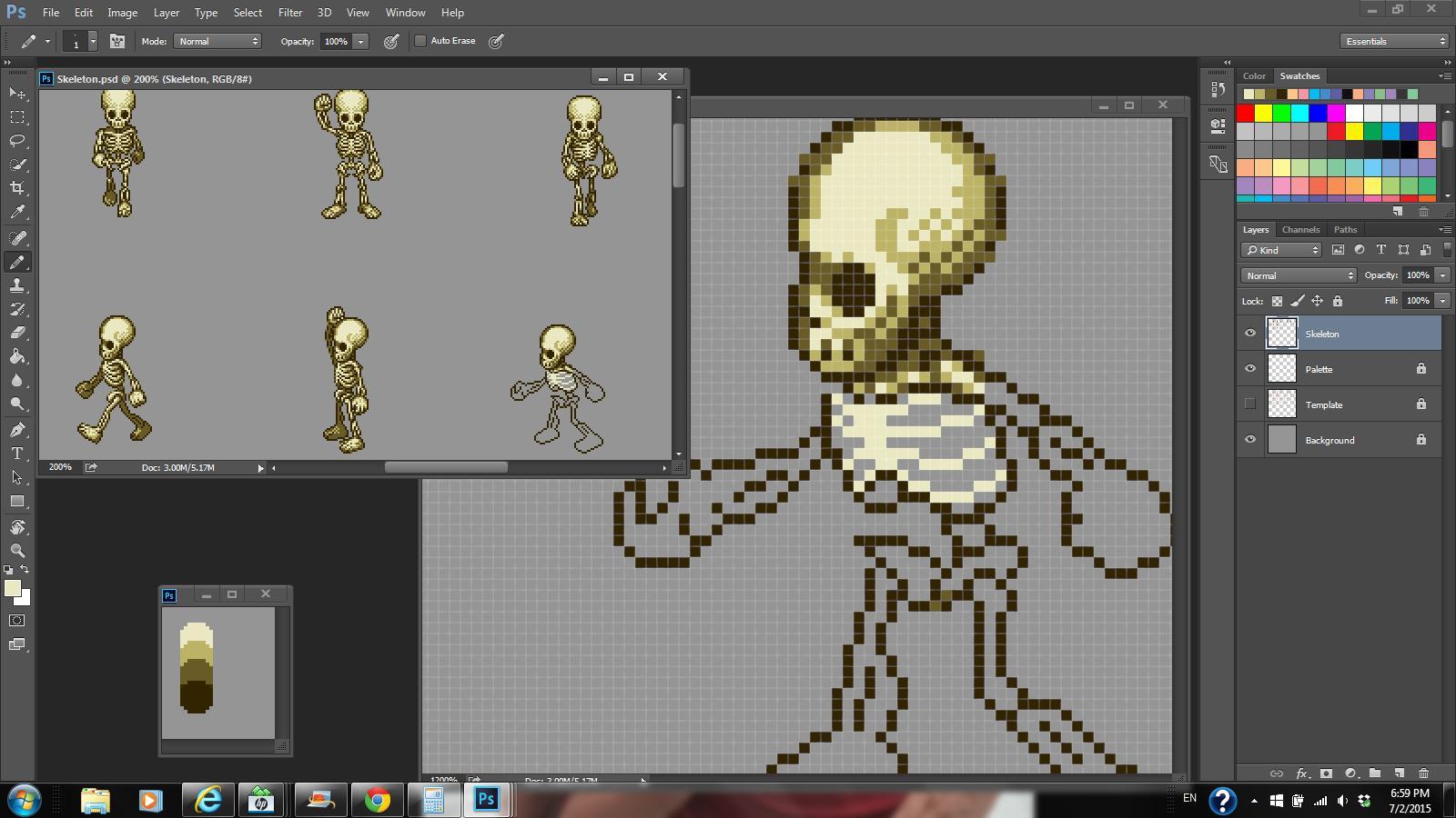 Skeleton sprite sheet work in progress