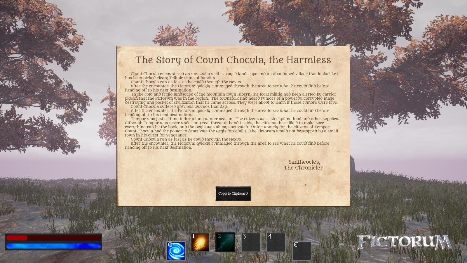 Fictorum In-Game History UI