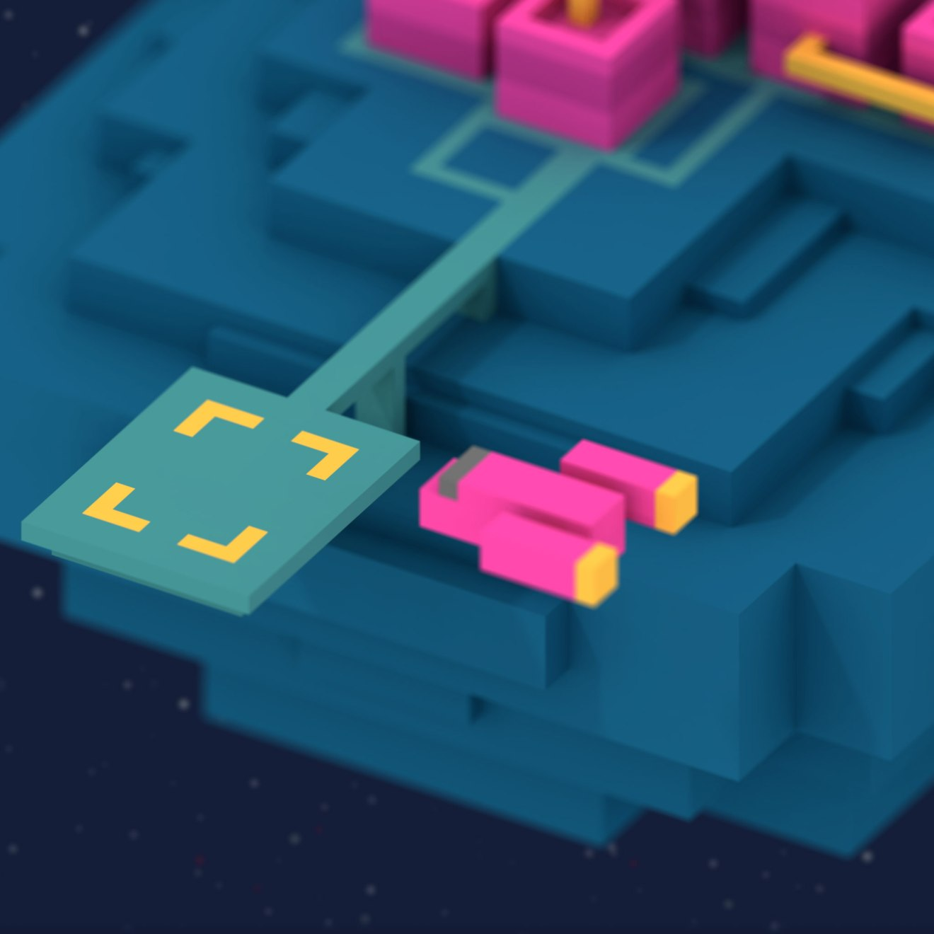Purple voxel spaceship approaches landing pad