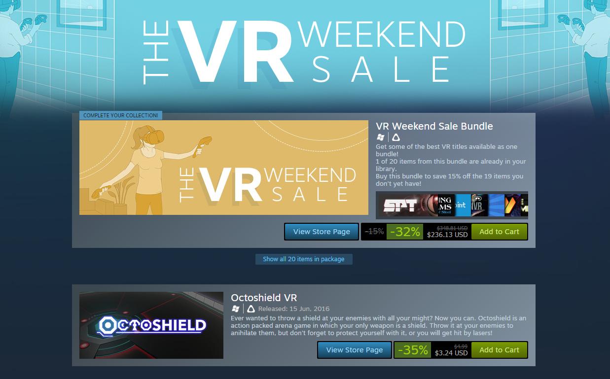 Valve's First Steam VR Weekend Sale Now Live news - Indie DB