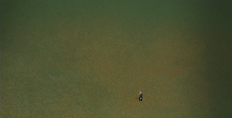 Our first (almost) empty canvas. Nothing but a simple noise-based texture and our main character, Ferguson.