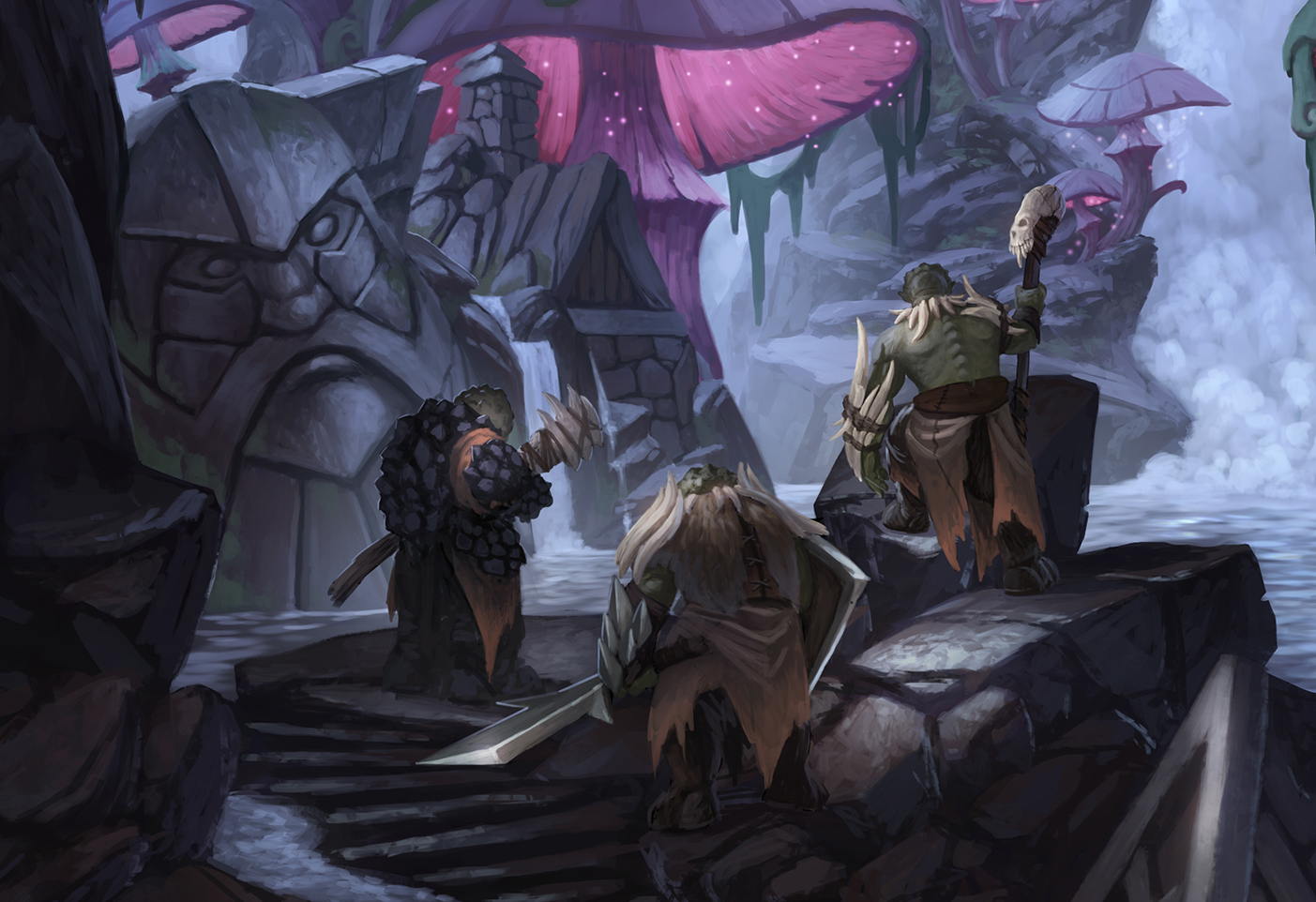A party of orcs discover a dwarven relic