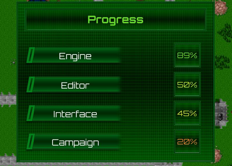 Progress: Engine 89%, Editor 50%, Interface 45%, Campaign 20%