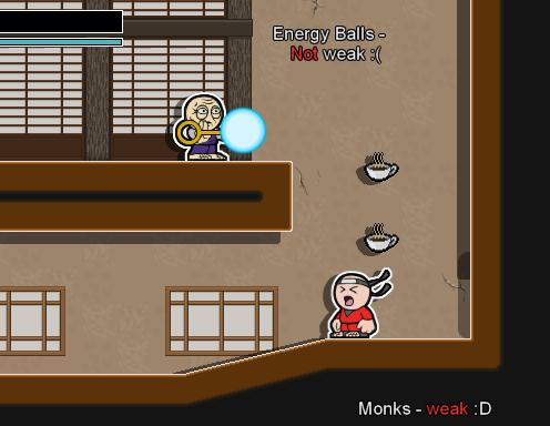 Enemy monk shooting an energy ball