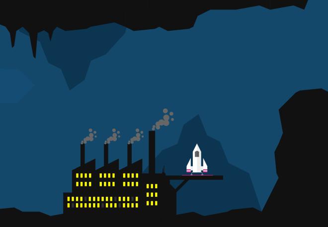 Solburn spaceship industrial factory