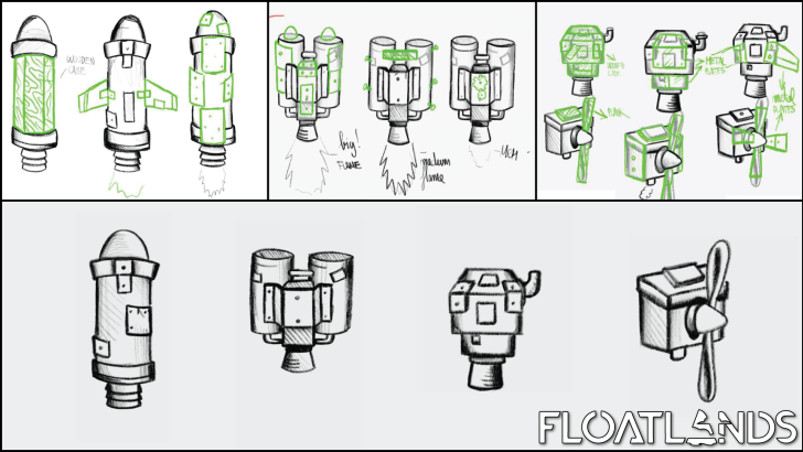 jetpacks sketches lowpoly floatlands