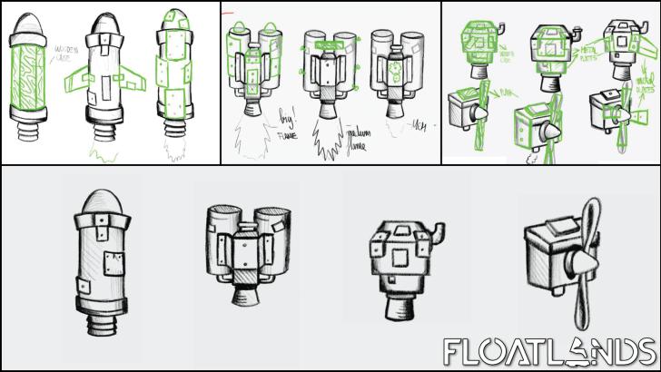 jetpacks sketches lowpoly floatlands