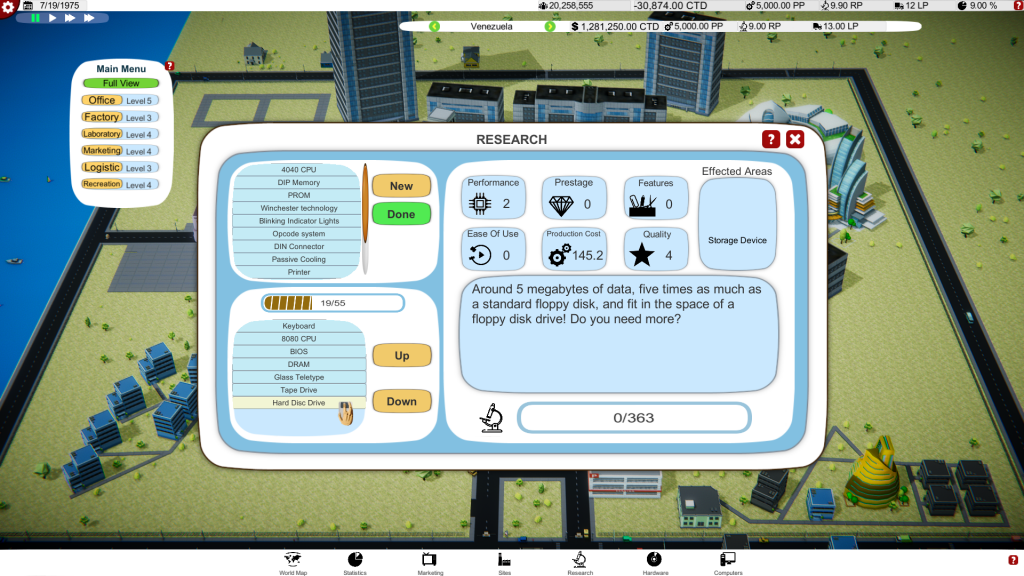 Computer Tycoon - Research Screen