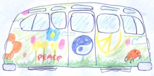 Image of a hover-bus with flowers and peace symbols painted on the side