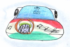 Image of a source looking front of a car with a head of an alien and musical notes painted on the hood