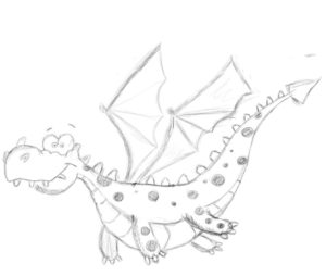 Image a of friendly looking spotted dragon in flight